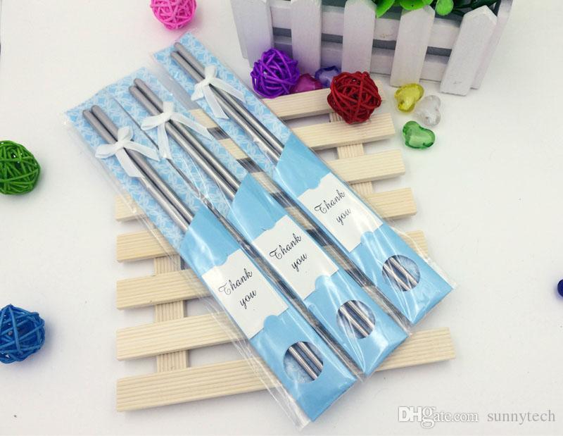 La más nueva moda de acero inoxidable palillos vajilla favores de la boda de regalo con el paquete al por menor para invitados envío gratis ZA5422