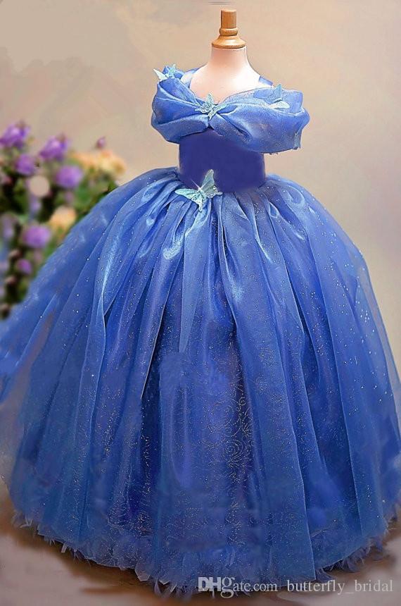 무료 배송 Hote 판매 신데렐라 어린이 꽃 소녀 블루 웨딩 드레스 오프 숄더 볼 가운 활 오간자 웨딩 드레스
