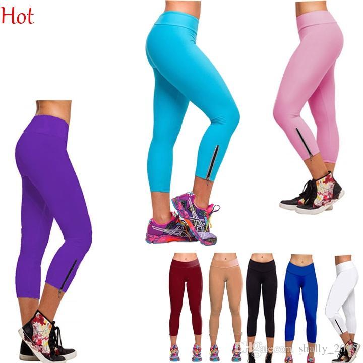 6195aa6a4b9 Fashion Cropped Sports Leggings Women Wild Side Zip Trendy Capri Ladies  Skinny Pants Mid Calf Pant High Waist Slim Leggings Solid SV001959 Canada 2019  From ...