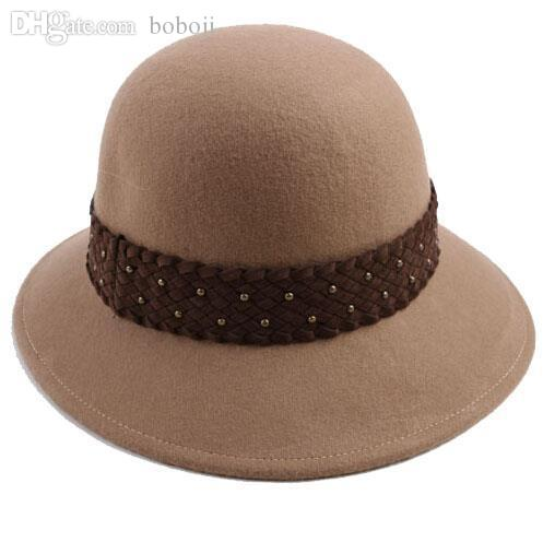 5a9683535a6 Wholesale-Wholesale Quality Women Wool Dome Fedora Hats Womens Designer  Winter Felt Bucket Hats Ladies Cloches Cap Lady Trilby Caps China Hat Cake China  Hat ...