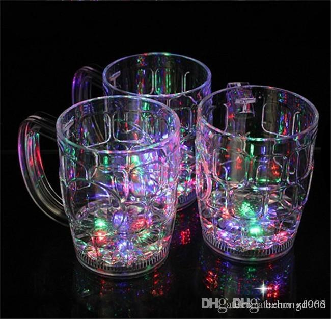Creative LED Flashing Wine Glasses Transparent Water Induction Beer Tumbler Colorful Whisky Cup With Handle For Bar KTV Decor 6 9jc B RY