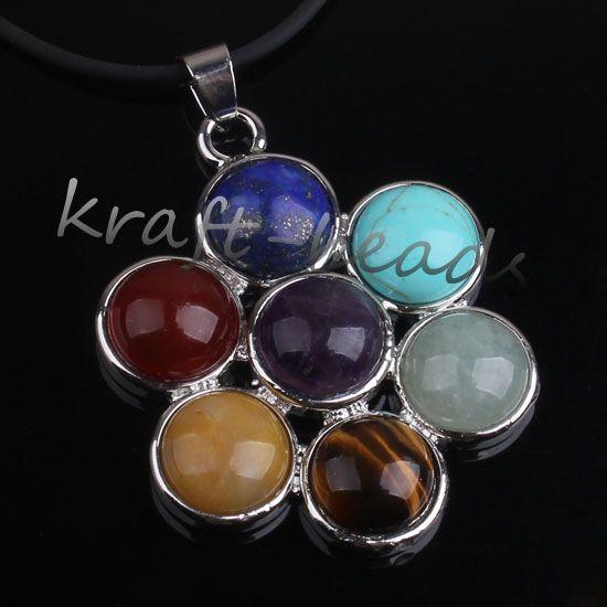 Очарование посеребренные Микс 7 каменные бусины чакра исцеление точка камень кулон ювелирные изделия Fit ожерелье