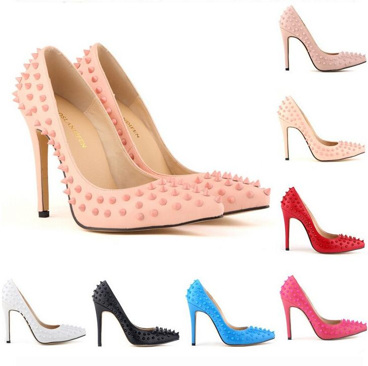 291b5ab014f Brand Designer High Heels Red Bottoms Pointed Toe Pumps High Heels Women  Pumps Rivets Heels Party Shoes 35 42 Cheap Shoes For Men Italian Shoes From  ...