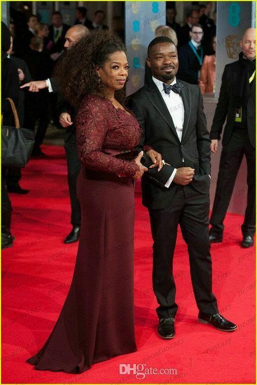 Oprah Winfrey Borgogna maniche lunghe Madre della sposa Abiti scollo a V Guaina in pizzo trasparente Plus Size Celebrity Red Carpet Abiti da sera Sale