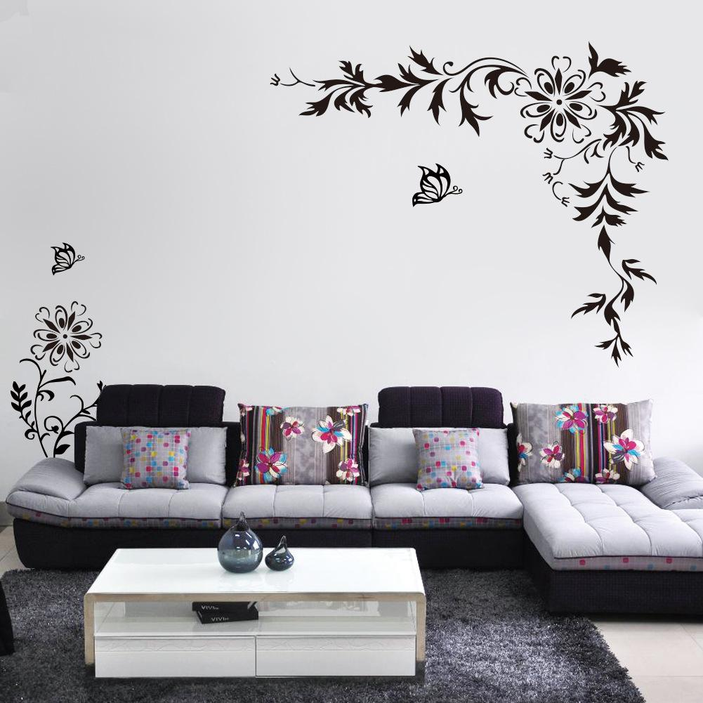 Black Butterfly Diagonal Flowers Rattan Wall Art Mural Decor - Wall decals in pakistanblack flowers removable wall stickers wall decals mural home art