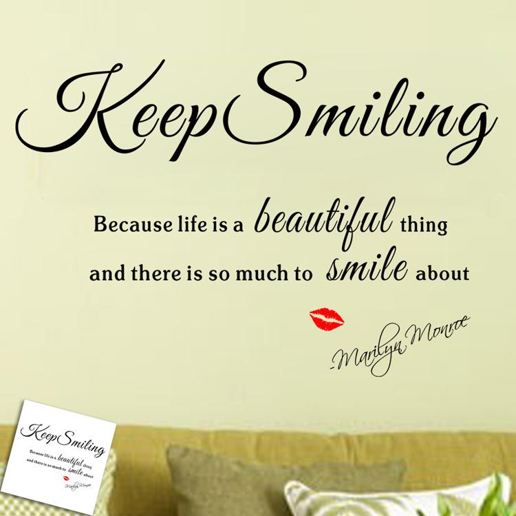 Hot Sale Sexy Lady Marilyn Monroe Keep Smiling Life Quote Art Wall Stickers  Decal Decor Create Wall Decals Create Wall Stickers From Billshuiping, ...