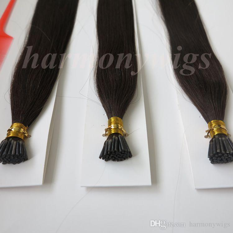 Pre bonded I Tip Brazilian human Hair Extensions 100g 100Strands 18 20 22 24inch #2/Darkest Brown Straight Indian Hair products