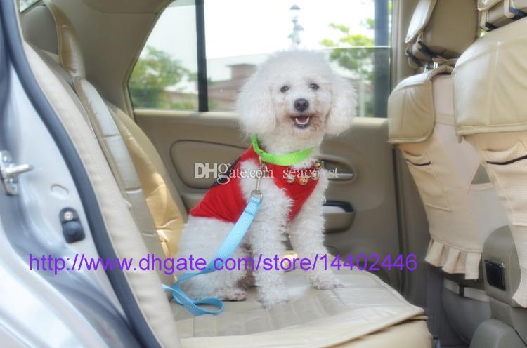 새 개 애완 동물 자동차 안전 좌석 벨트 좌석 클립 안전 벨트 하네스 구속 리드 조정 가능한 가죽 끈 여행 고리