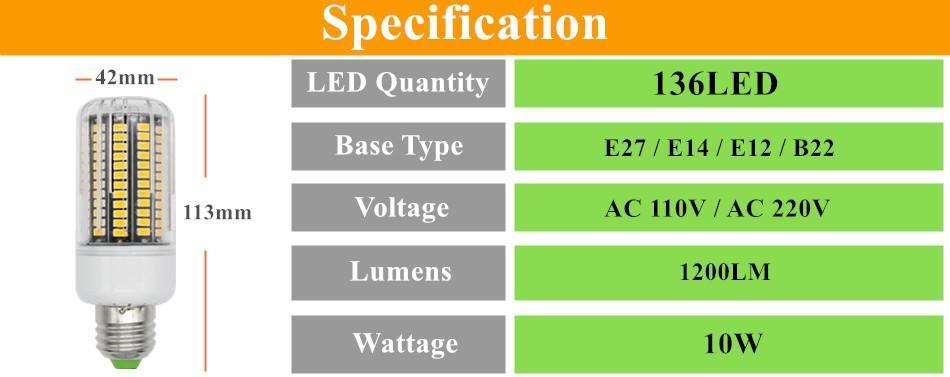 E27 E26 E14 GU10 G9 B22 LED ضوء مكتب الذرة لمبة السوبر مشرق 5733 SMD 7W / 12W / 18W / 22W / 25W / 35W 136 المصابيح الدافئة / أبيض عن طريق DHL
