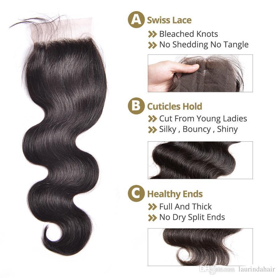 Brazilian Body Wave Virgin Hair Weave With Closure Straight 8A Grade 3 Bundles Unprocessed Brazilian Human Hair Weave Add Lace Closures
