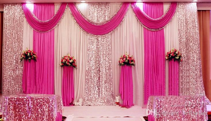 3m*6m Sequins Beads Edge Design Fabric Satin Drape Curtain Pink Swag With  Silver Sequin Fabric For Wedding Decor Prop Backdrop Decorations Top Table  Wedding ...