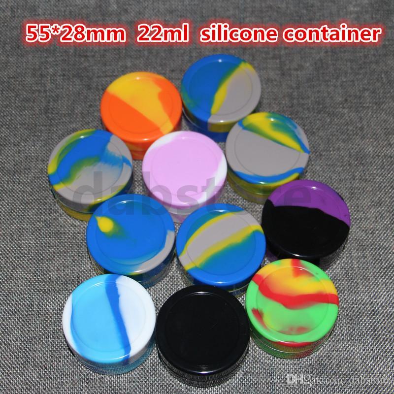 Recipiente de aceite de cera de silicona 22 ml 55 * 28 mm Contenedores Tarros de silicona Concentrado de cera Recipientes de cera al por mayor Envío gratuito DHL