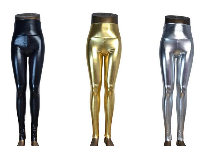 fe033fbdfaf 2019 Plus Size High Waist Shiny Wet Liquid Look PU Faux Leather Metallic  Stretch Leggings Pants XS S M L XL From Baxianhua