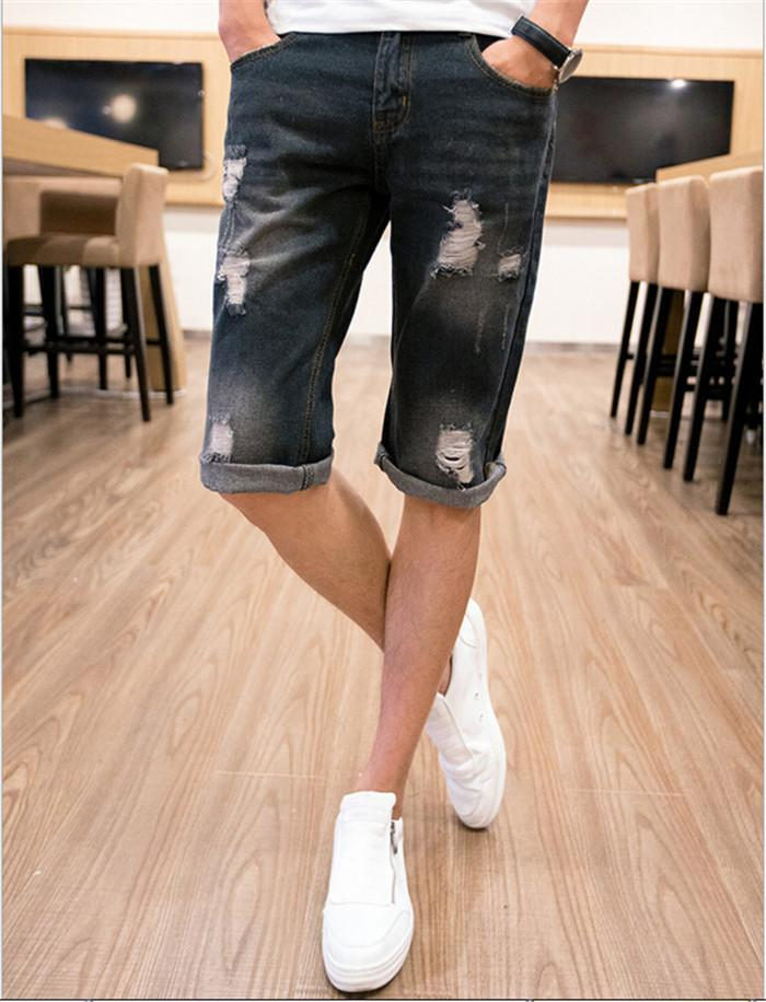 2017 2015 Mens Ripped Jeans Shorts Cotton Light Blue/Dark Blue ...