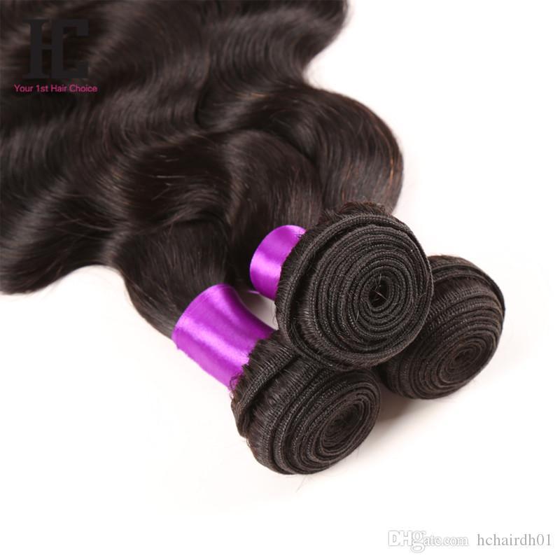 Paquetes brasileños del pelo humano del grado 7A de 3 paquetes de la armadura brasileña del cuerpo con los paquetes cerrados del pelo de HC HC con el cierre
