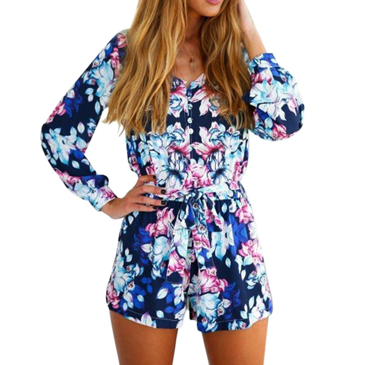 8965f54821cd 2015 Autumn Rompers Womens Long Sleeve Playsuit Floral Printed ...