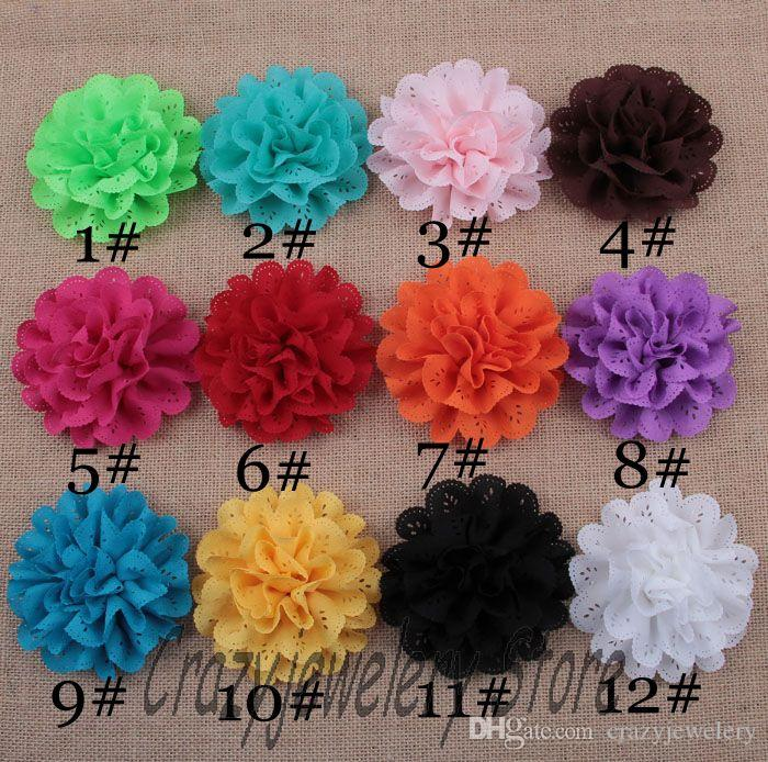 20pcs/lot Eyelet Cloth Flowers Fabric Chiffon Eyelet Flower Children Hair Accessories DIY Baby Christmas Headwear Girl Photography Props