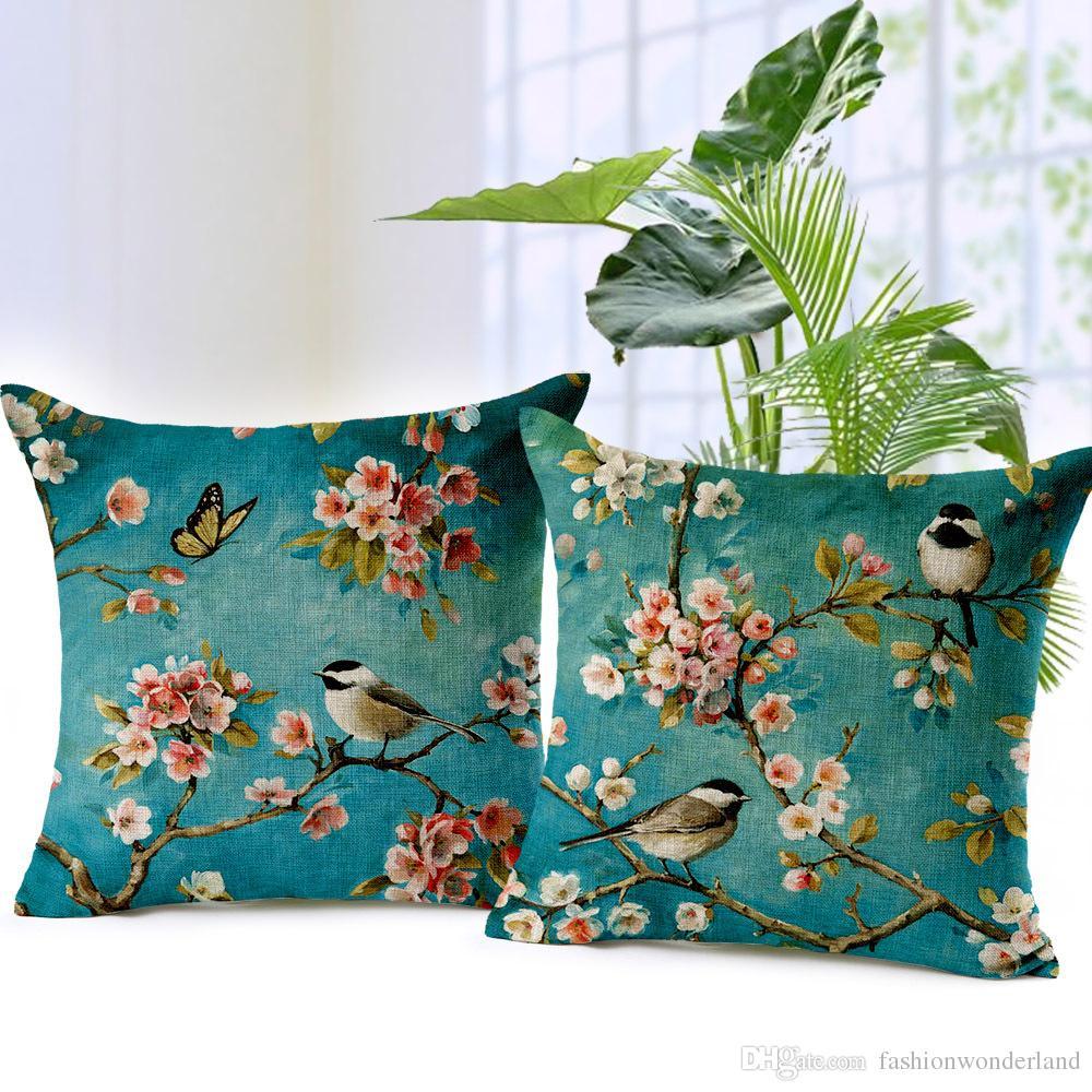 Peach Blossom Cushion Covers Flower Birds Throw Pillows Covers ...