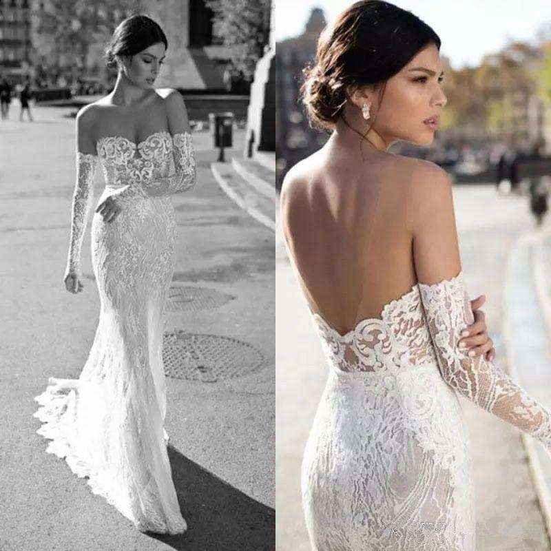 c78414209e9 Gali Karten 2018 Mermaid Wedding Dresses Sexy Sheer Neckline Long Sleeve  Bridal Gowns Custom Made Backless Wedding Dress Plus Size Wedding Gown Dress  ...