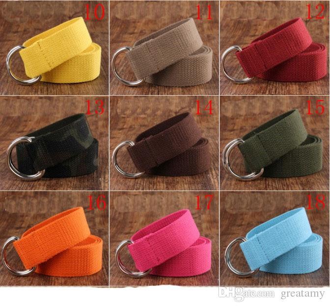 ALL'INGROSSO i colorati delle donne degli uomini delle cinghie di vita doppi anelli fibbia casuale trasporto veloce Unisex Tela Cintura