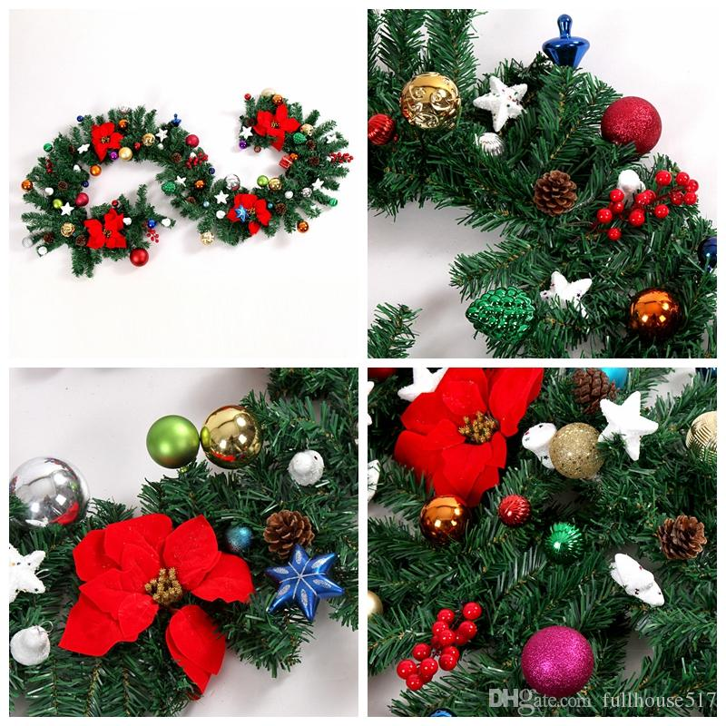 270cm 9ft Pvc Christmas Garland Home Outdoor Decorations Artificial Pinecone Red Berries Home Decor Holiday Garland