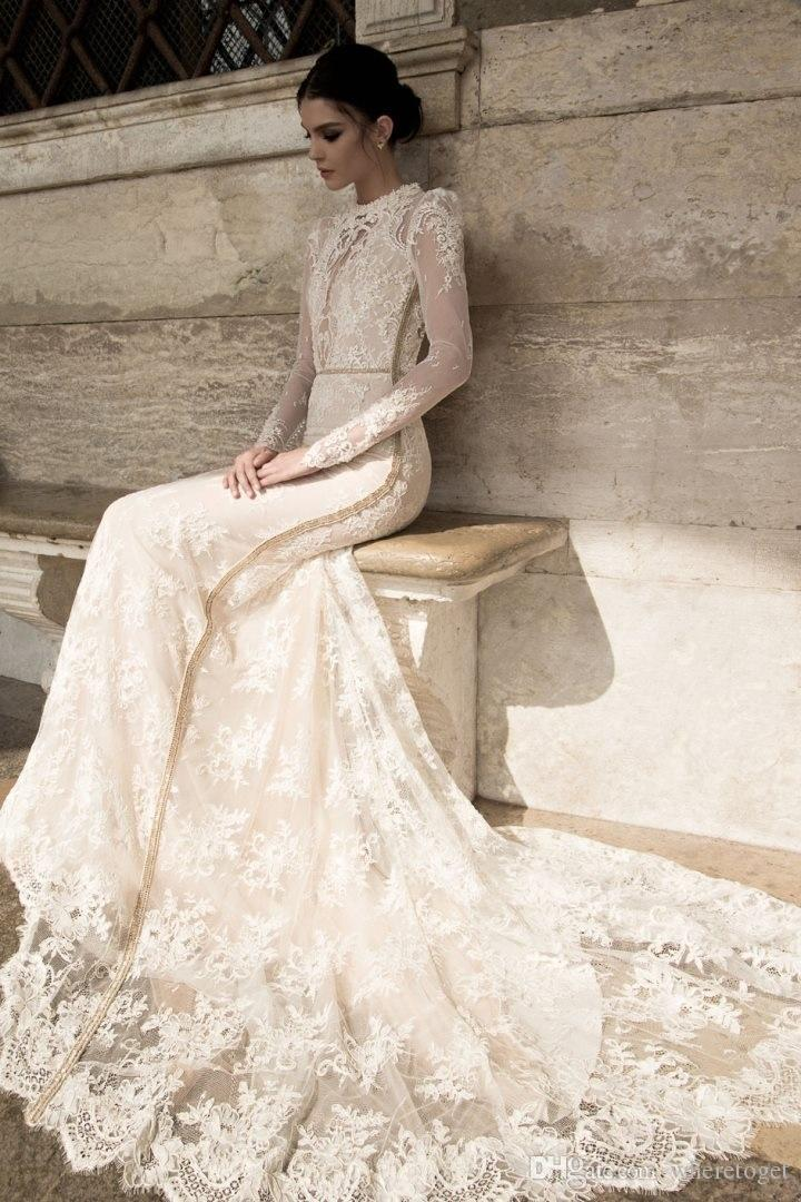Inbal Dror 2019 Spring Lace Sheer Beach Wedding Dresses Summer High Collar Modest Long Sleeves Vintage High Neck Court Train Bridal Gowns