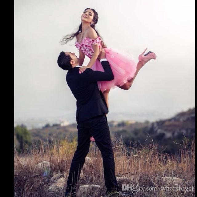 2019 Nuevos vestidos de cóctel rosados juveniles de manga corta Aplique Flowers Hecho a mano Flowers Ball Ball Tulle Breta Fiesta Pelotea barato