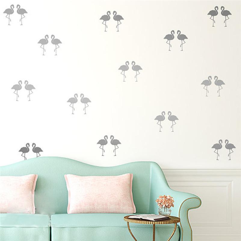 Mini 5*10cm Flamingo Wall Stickers Bird Decals For Kids Rooms DIY Art Vinyl New Design Home Decor