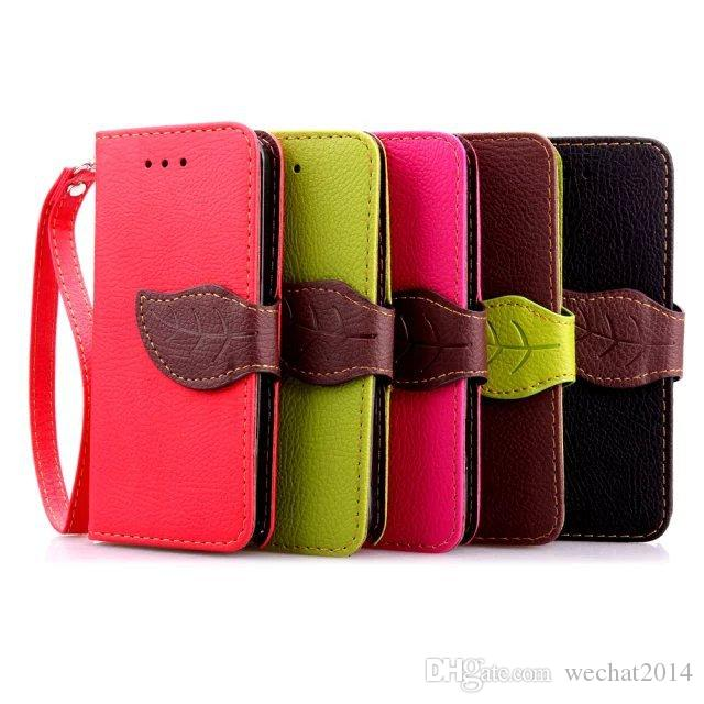 Leaf Wallet Flip PU Leather Case Stand TPU Cover With Card Slots for Samsung Galaxy S3 S4 S5 S6 Edge S7 Edge No Package free DHL