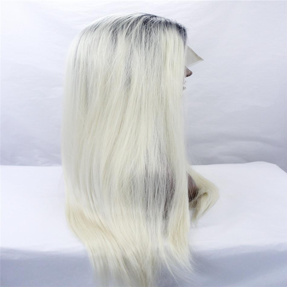 Fashion wig lave front wigs New Fashion Charm Womens Short Platinum Blonde Wavy Hot Full wigs Black roots hair straight hair blond kabell