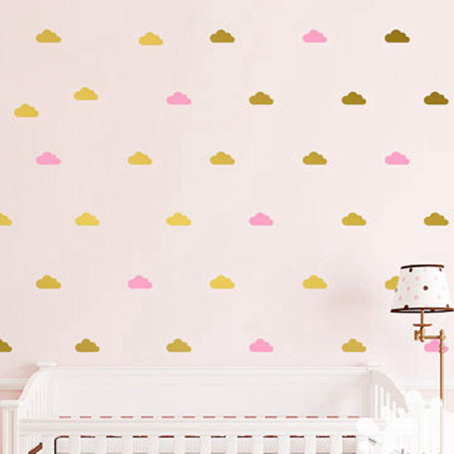 Cloud Wall Decals Kids Room Decor, Removable Gold White Cloud Wall ...