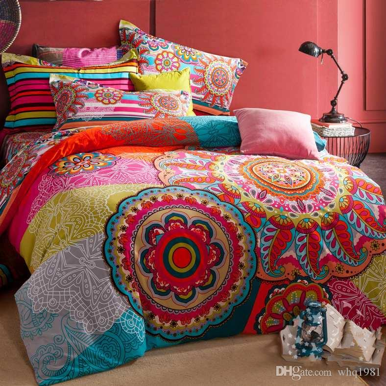 100 Sanded Cotton Fabric Bohemia Boho Duvet Cover Set