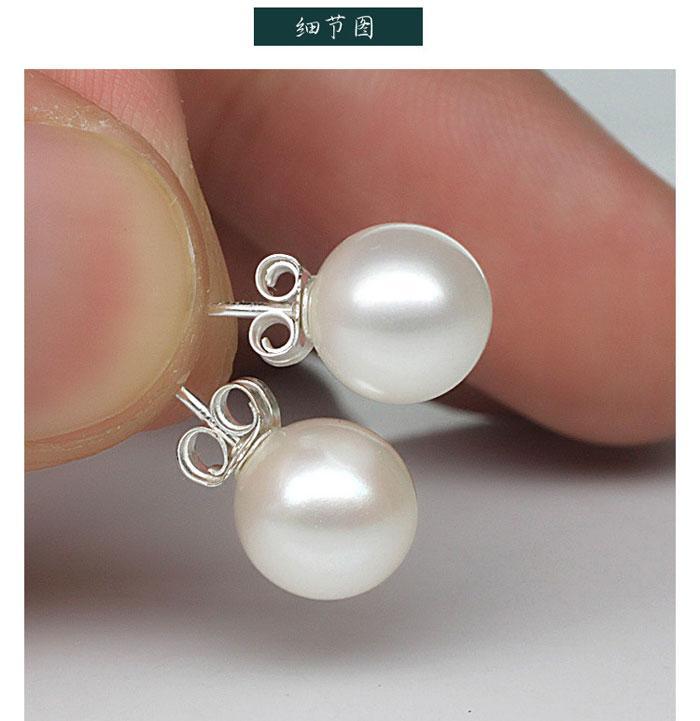 Neue Schmucksachen 6mm / 8mm / 10mm Perlenohrring-Bolzen 925 Sterlingsilber Ohrringe für Hochzeitsfest Beige Farbe Freies Verschiffen