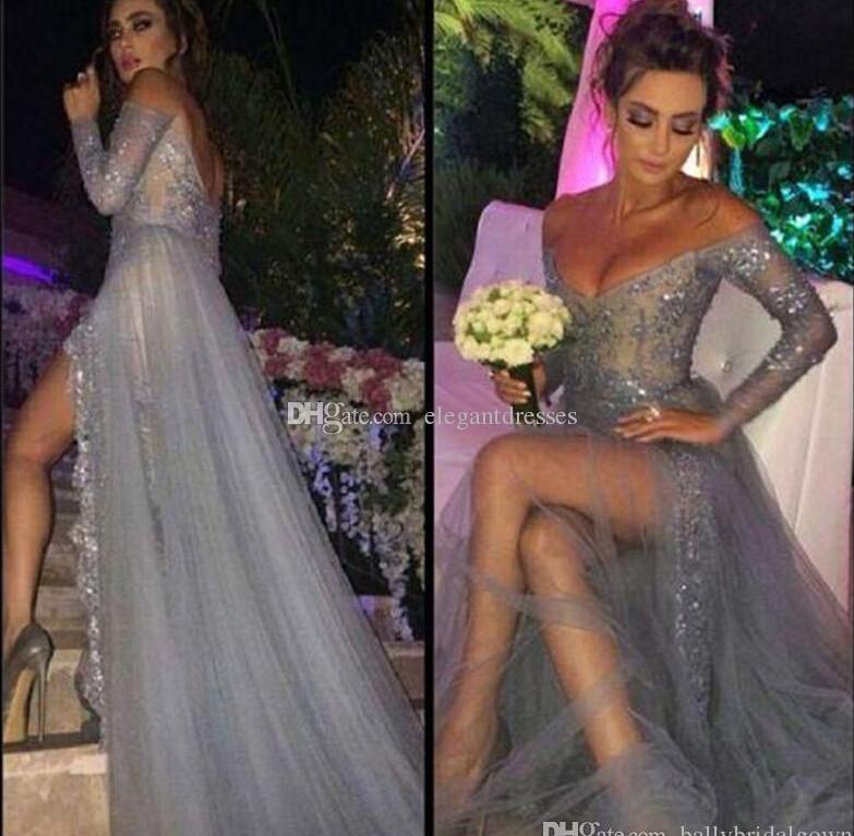 2021 Yeni Moda Uzun Kollu Elbiseler Parti Akşam Bir Hattı Kapalı Omuz Yüksek Yarık Vintage Dantel Gri Gelinlik Modelleri Uzun Şifon Örgün Önlükler