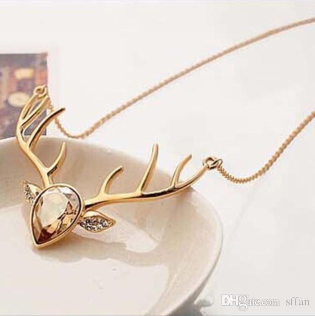 women's fashion jewelry crystal pere david's deer pedant cute animal necklace charm ladies accessories christmas gift