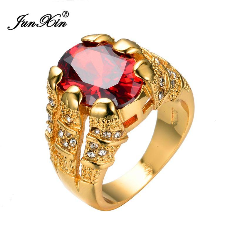 Big Oval Red Stone Crystal Sapphire Zircon Vintage Wedding Rings For Men 10kt Yellow Gold Plated