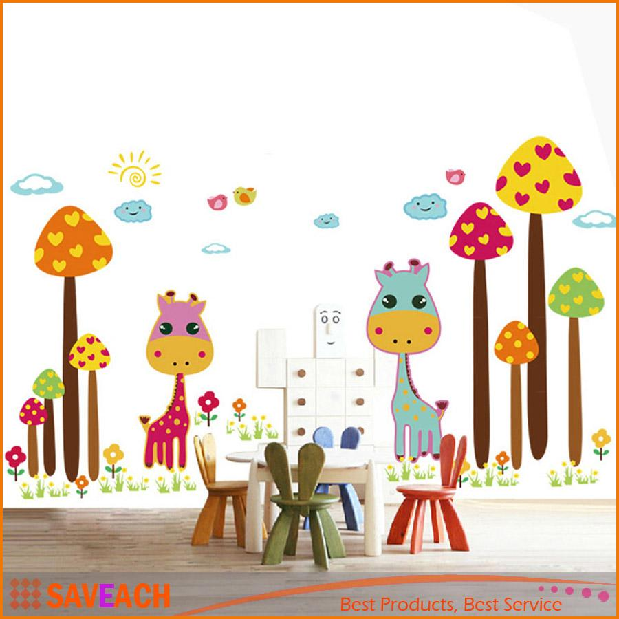 New Arrival Removable Wall Decal Sticker Cute Cartoon Giraffes DIY Wallpaper Art Decals Mural For Room Decoration 50 70cm