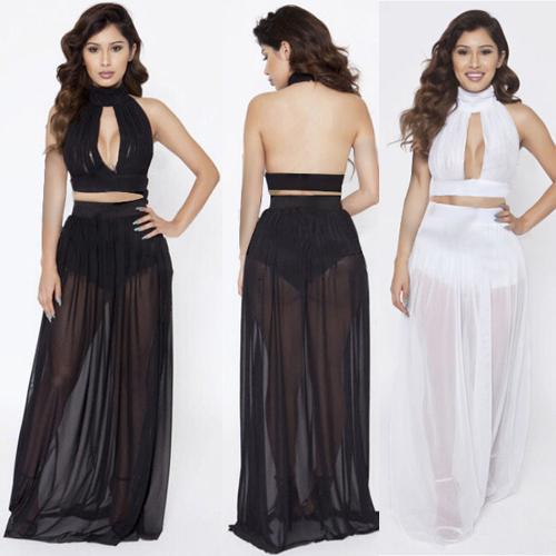 bbeab79c78e 2017 2015 New Womens Black White Orange Crop Top And Skirt Set .