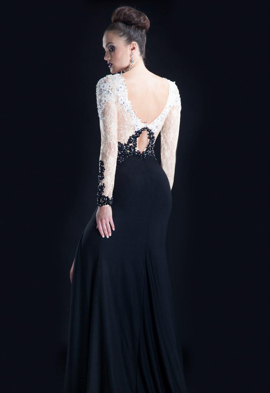 7880217959f Длиное вечернее платье черно белое - Модадром
