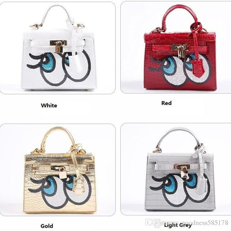 Cute Cartoon Spoof Big Eyes Shoulder Bags Sequined Crocodile Grain - Cartoon handbags