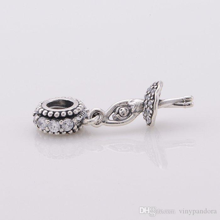 925 Gümüş Balerin Dangle Boncuk ile cz Avrupa Tarzı Pandora Takı Charm Bilezik Uyar
