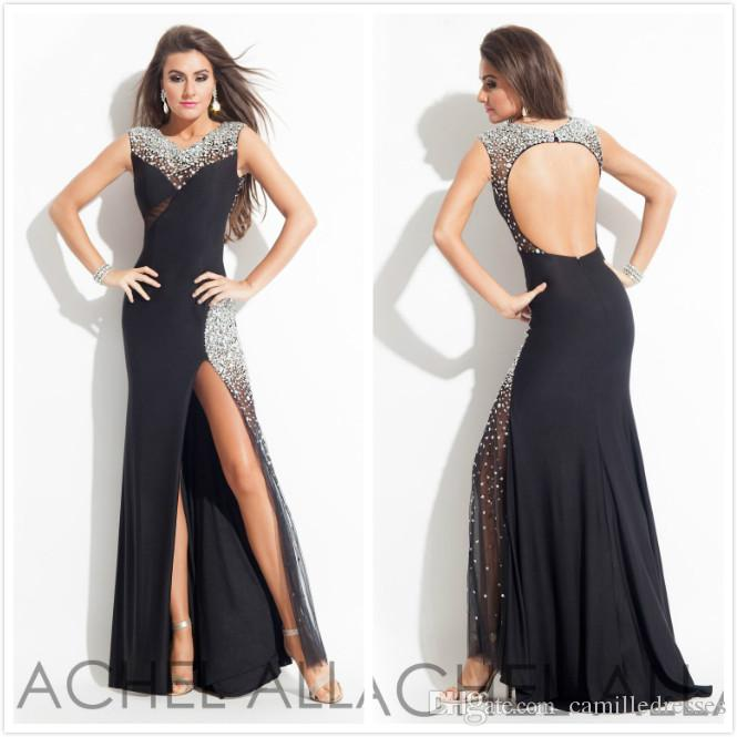 783805109d7 2015 Sexy Rachel Allen Prom Dresses Sparkling Beads Split Side Prom Party  Gowns Stunning Crew Hollow Sweep Train Dresses Party Evening Canada 2019  From ...
