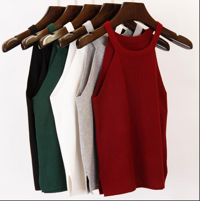 17 summer new fashion women knitted vest short design Camis Tank Top Sleeveless sweater female sexy clothing pullover girls tops