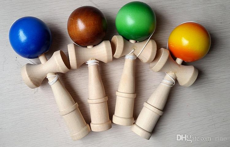 18CM Kendama Ball with PVC Box Packing Japanese Traditional Wooden Toys FedEx