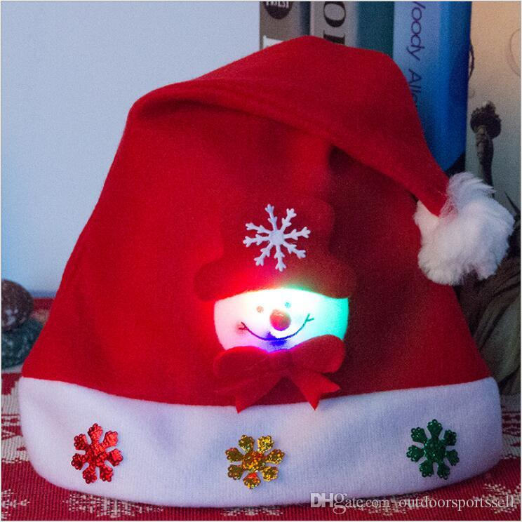 Luminous Light Christmas Hats Adult Kids Cartoon Caps Christmas Santa Claus Snowman Elk cap Hooded Glowing Christmas Ornament Child Hat Gift
