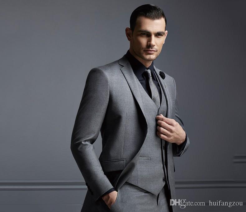 Considerável Cinza Escuro Mens Terno Nova Moda Ternos Do Noivo Do Casamento Do Noivo Para Os Melhores Homens Slim Fit Noivo Smoking Para O Homem