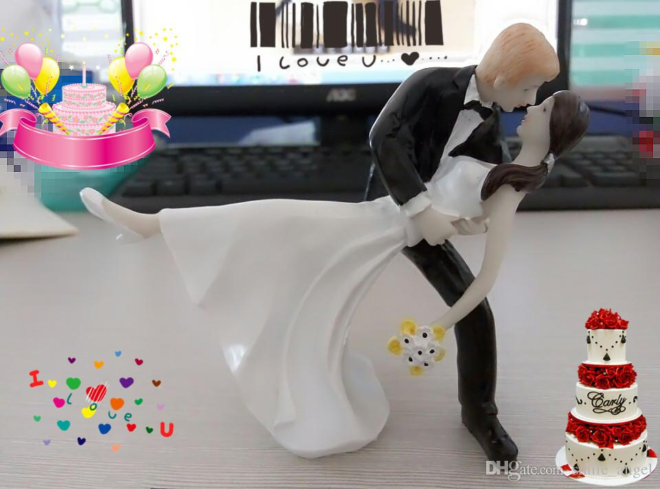 Romantic Romantic Dip Dancing Bridal and Groom Wedding Decoration CupCake Toppers Resign Figurine Craft Souvenir New Wedding Favors Topper