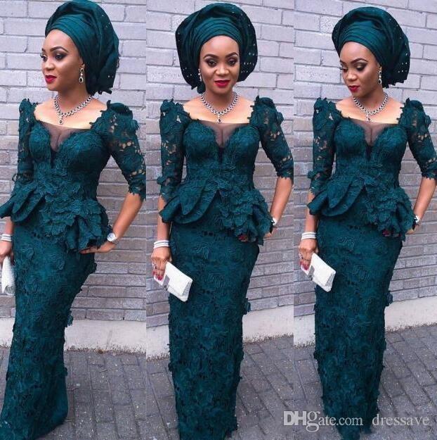 Africain 2K18 Dentelle Robes De Soirée Avec 3/4 À Manches Longues Peplum Gaine Noir Fille Robe De Bal Robes Dubaï Formal Wear Party Dress
