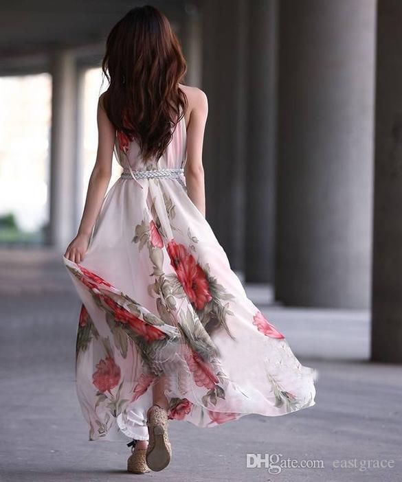 Halter longo floral chiffon dress elegante vermelho ruffled grande pêndulo vestido boêmio ladies impresso dress senhoras impresso dress longo vestido maxi