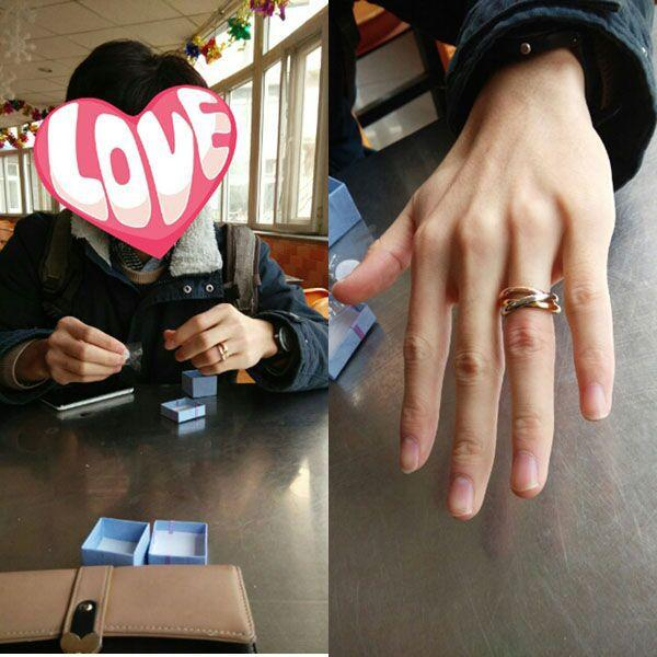 &#67artier Titanium steel mixed ring jewelry tricyclic tricolor plain ring of male and female lovers' ring